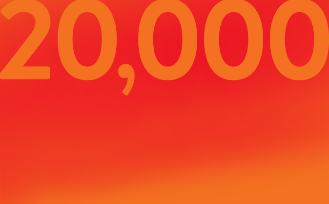 20,000 on red background
