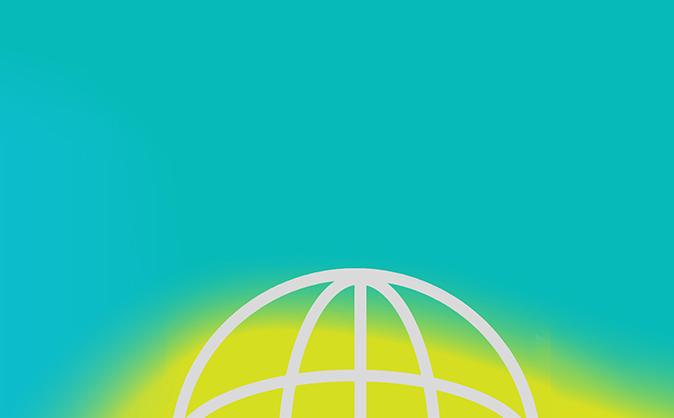 Globe icon on blue background
