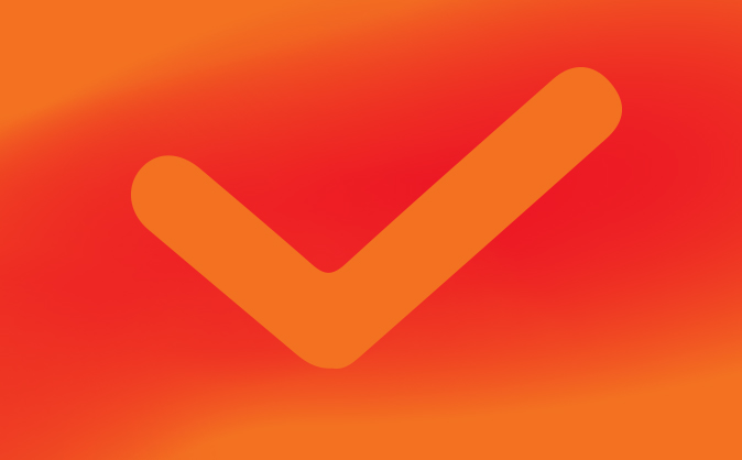 Red and orange check mark